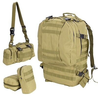 Mud Color Military Tactical 55L Army Rucksacks Molle Backpack Camping Hiking Bag