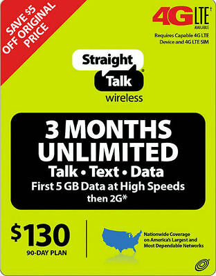 Straighttalk 3 Month Unlimited 90 Day Service Topup Card FAST