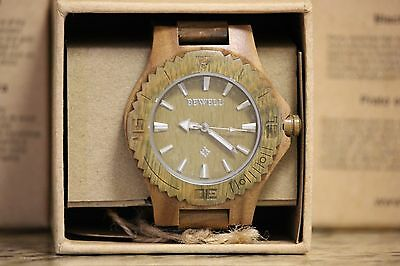 Mens bewell brand green sandlewood watch