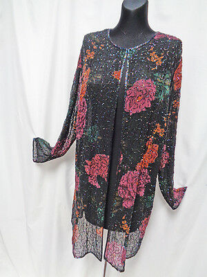 TWINKLY ETHEREAL SHEER 80s VINTAGE BEADED GOSSAMER SILK LONG JACKET HIPPIE BOHO