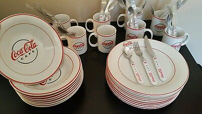 coca cola dishes- plates, bowls,  cups, silverware flatware- diner logo