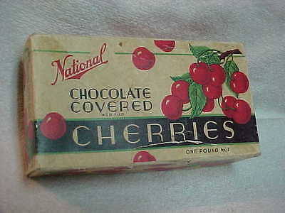 Original Vintage National Chocolate Covered Cherries Box Candy Antique Missouri