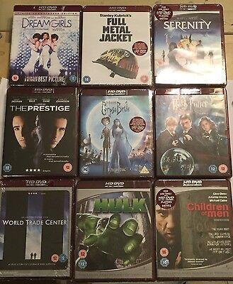 9 Brand New Hd Dvd Films Movie Bundle Potter Hulk Serenity Corpse Bride Fmj Wtc