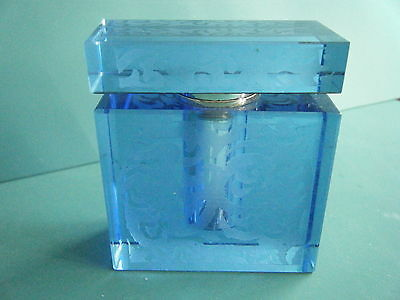 Antique Vintage Etched Blue Glass Perfume Bottle Mirrored Top With Glass Dabber