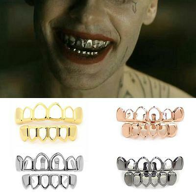Newest Custom Gold Plated Hip Hop Hollow Open Face Teeth Grillz Caps Grill Set
