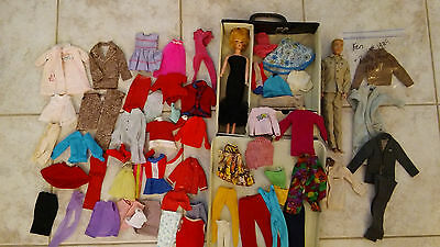 Vintage Barbie & Ken dolls lot clothes dress in carry case dated 1962