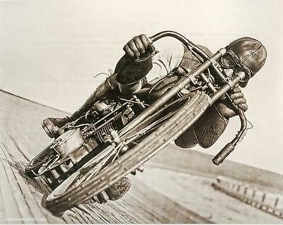 Old/Antique 1921 Harley Davidson Racing Motorcycle Leather Helmet Rider Photo