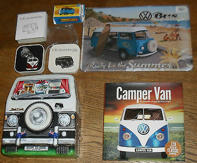 VW kombi collectable key ring , sign , book , matchbox toy box , empty lolly tin
