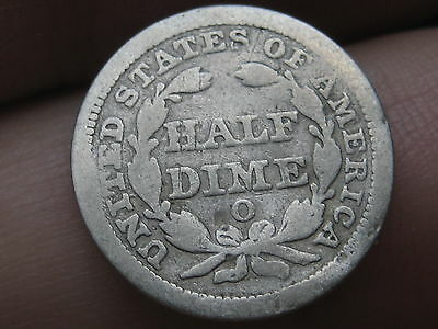1858 O Seated Liberty Half Dime, VG Reverse Details