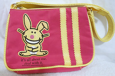 "It's Happy Bunny Purse Pink /Yellow ""it's all about me, deal with it"" Jim Benton"