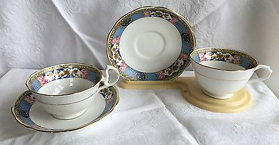 2 Royal Albert Crown China # 5454 blue/yellow/pink floral band (293)
