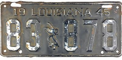 1945 Louisiana License Plate #83-878 5 DIGIT PLATE No Reserve