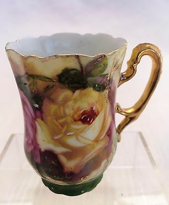 Antique/ Vintage Hand Painted Porcelain Coffee Cup With Yellow/ Pink Roses