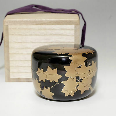 HIRA NATSUME Japanese Gold Lacquered Tea Caddy w/box #2023