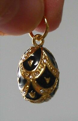 """Faberge inspired Russian Egg Pendant /Charm bejeweld Great Gift Easter 7/8"""" blac"""