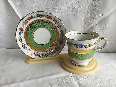 Kunst Hummendorf Kromach Germany Green/Gold/Floral Tea Cup & Saucer (301)