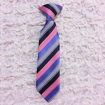 Boys Clip On Tie Blue Pink 9 Inches Infant Toddler Kids