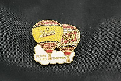 STROH'S and SCHLITZ BEER HOT AIR BALLOON PIN FLYING HIGH TOGETHER