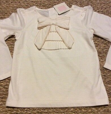 NWT Janie And Jack Girl Shirt With Bow Off White Size 3t
