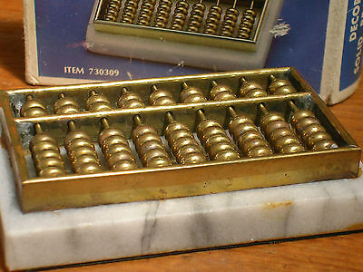 Vintage solid brass Abacus on a marble base in box deceased estate rare find