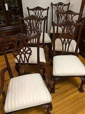 Set Of 7 Antique Chippendale Mahogany Dining Room Chairs