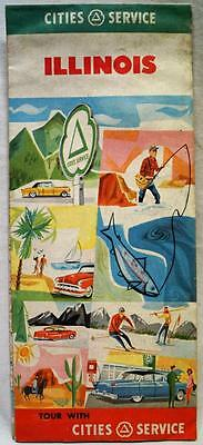 Cities Service Illinois Automobile Highway Road Map 1956 Vintage Travel