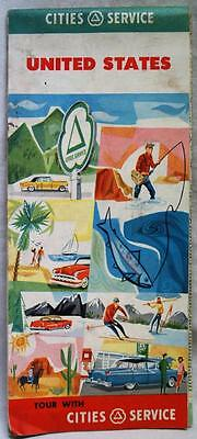 Cities Service Usa United States Highway Road Map 1956 Vintage Travel