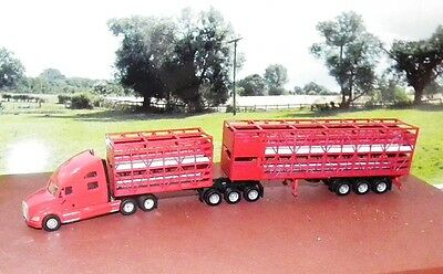 KENWORTH B DOUBLE Cattle Stock Road Train Custom Built & Painted  HO 1/87 Scale