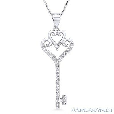 Double-Heart Bow Love Charm Skeleton Key 925 Sterling Silver Pendant & Necklace