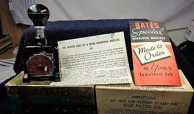 1968 Bates Numbering Machine  6 Wheel Style E Box + More Repeat Action
