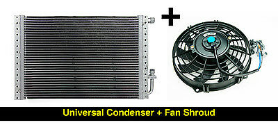 A/c Condenser Auto Air Conditioning Universal Type With Fan Shroud Car Van Truck