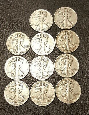 Lot Of 11 Walking Liberty Silver Half Dollar Coins Mixed Dates  Circulated