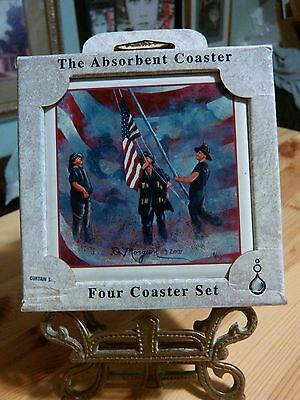 USA Fireman flag memorial coasters by ABSORBASTONE The Absorbent Coaster