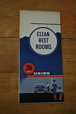 1950s 76 Union Minute Man Service/Clean Rest Rooms Auto Map Washington State