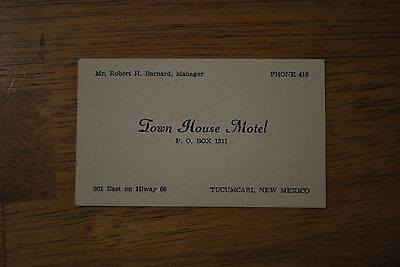 Route 66 Town House Motel Tucumcari, New Mexico Business Card - NICE!!!
