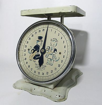 Vintage Baby Scale 30 Pound by Ounces Jay Bee Metal Glass Made in USA RARE