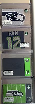SEATTLE SEAHAWKS Starbucks 4 Card Lot Rare 2013, 2014, 2015 & 2016