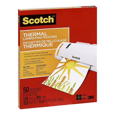 Scotch Thermal Laminating Pouches 8.97-Inch x 11.45-Inch 3-Mil Thickness, 50 P