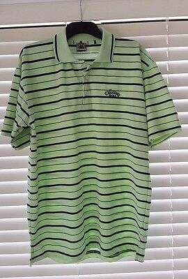 Callaway Golf Mens Lime Green Striped Performance Tech Golf Polo Shirt Size L