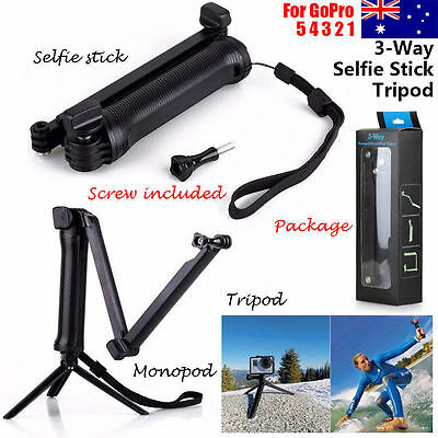 Extendable Hand Grip 3-Way Bracket Arm Tripod Monopod Mount for GoPro Hero 5 4 3