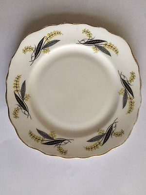 Royal Vale, Bone China, 15.5cm Tea Plate Yellow/Grey Flowers fluted gilt edging