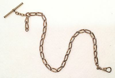 "Victorian H&H 14k Gold Filled ALBERT Pocket Watch Chain w/ T-Bar - 13.5"" Length"