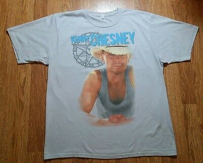 Kenny Chesney Concert T-shirt (XL) Kenny On Front, Cities & States On Back