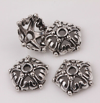15PCS Tibetan Silver Round Floral Bead Caps Craft Jewelry Findings 12*4mm