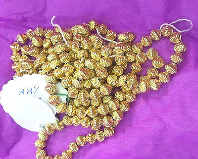 Loose/Stringed 18 k Pure Wax Filled Mellon Shaped Gold Beads Size 5 M M