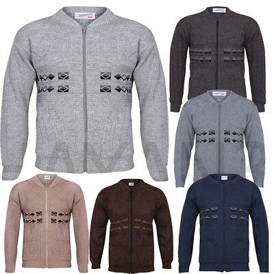 Men  Zip Up Cardigan Granddad Collar With Two Front Pockets SIZES-S,M,L,XL