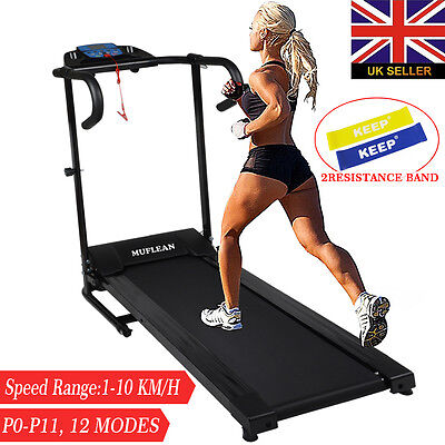 MUFLEAN Folding Treadmill Motorised Running Machine Electric Fitness Exercise