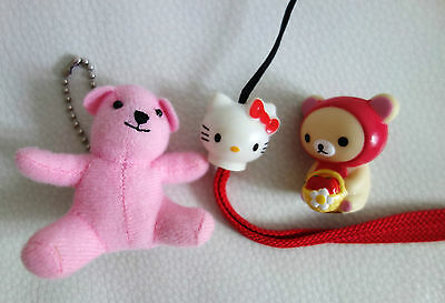 LOT de 3 figurines mini ours rose porte clef & Hello Kitty & ours ! Japon