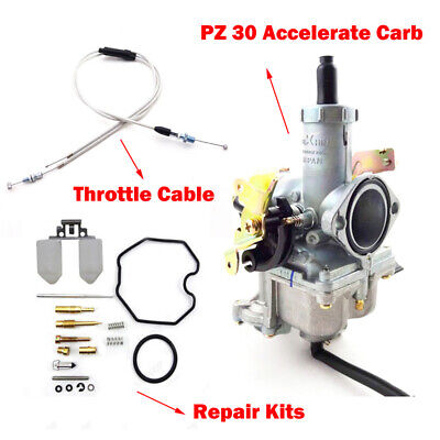 Keihin PZ30 Accelerate Pump Carburetor+Repair+Throttle Cable 200cc 250cc Dirt