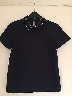 Topshop short sleeve Navy top size 6,peter-pan Collar,polyester,FAB Condition